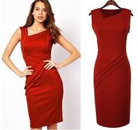 Free Shipping Hot New European V-neck Sexy Slim Sleeveless Cotton Women Long dress Mid-calf Red Dresses S-XXXL US size 8-18
