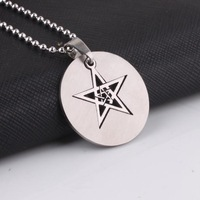 Round card Double stars tags 316L Stainless Steel Titanium pendant necklaces for men women wholesale Free shipping