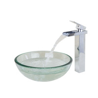 Waterfall Bathroom Faucet With Clear Tempered Glass Vessel Sink And Pop Up Drain Round Bathroom Sink Set DD45028259G