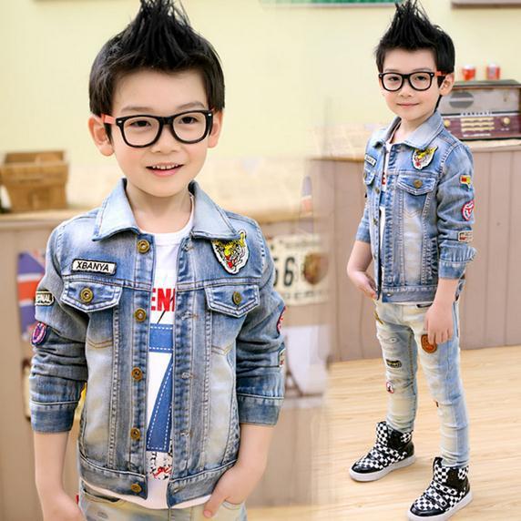 New autumn baby boy denim jacket blue cotton tiger head denim jacket kids boys jacket children denim jackets 5pcs/lot(China (Mainland))