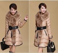 2014 New Fashion Women's 90% White Duck Feather Down Jacket Rabbit Fur Stitching Slim Long Coat Female Plus Size Padded Overcoat