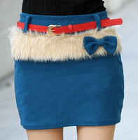 2015 Fashion Women Winter Short Skirts Korean Style All Match Sweet Bowknot Decoration Woolen Mini Skirts With Belt