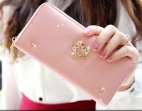 2014 New Women Fashion Love Diamond Long Wallet Women Rivet Zipper Casual Wallet Brand Flower Designer Purse Clutch Carteira