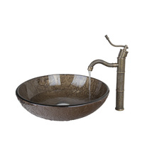 BrownRound Tempered Glass Vessel Sink With Antique Brass Bathroom Faucet And Pop Up Drain Bathroom Sink Set DD425396006