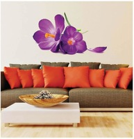 Free shipping JM7272 Removable Wall Stickers New Purple flowers For Living Room Bedroom Home decor wall decals