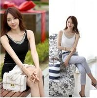 Korea Version Summer 2014 Beading o-neck women tank tops S to XL Sheath white/black elasticity Sequined fashion pullovers 1PC