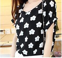 2014 Summer New Women Chiffon shirts Short Sleeve Shirt Loose Casual Blouses Shirt Chiffon Plus Size Top Tee Free Shipping