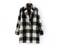 new arrival 2014 elegant women winter wool long coat British style classic plaid thick trench outwear fashion overcoat