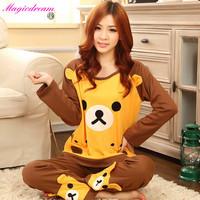 New Panda Pajama Sets O-Neck Full Sleeve Feminino Inverno Sleepwear Autumn Winter 100% Cotton Pajamas Pijama Nightwear For Women