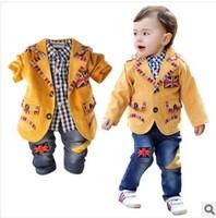 new 2014 boys gentlemen union flag blazer+shirt+pant clothing sets 3pcs kids clothes sets baby clothing set set boy
