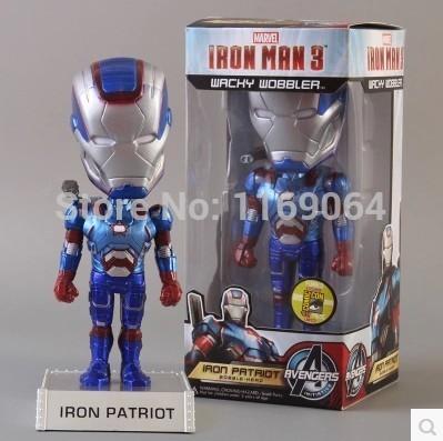 FUNKO Iron Man 3 Iron Patriot Wacky Wobbler Bobble Head PVC Action Figure Collection Toy Doll Christmas Gifts Classic Toys KFC12(China (Mainland))
