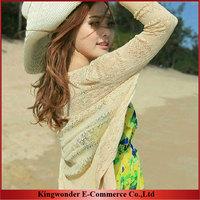 Free Shipping Wholesale 2014 Women Cardigan Sale Knitwear Sweet Candy Pure Color Slim Crochet Knit Blouse Sweater  KSR002