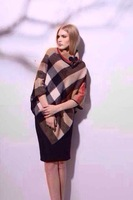 2014 new Cape-style shawl cashmere scarf thick warm plaid  pashmina stole Horn buckle leather with box