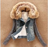 2014 new women's spring Autumn short denim jacket women winter slim yarn large fur collar lamb cotton denim outerwear jeans
