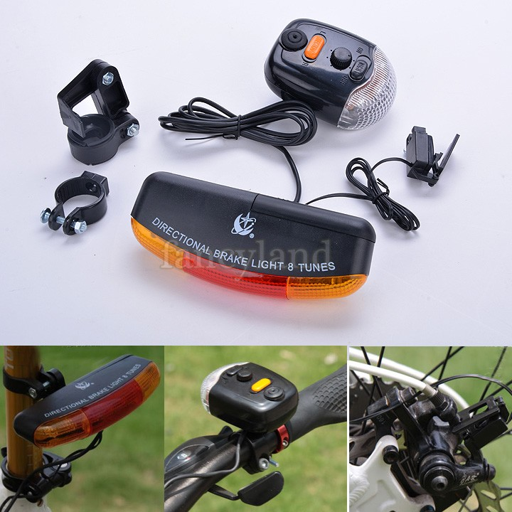 New Arrival Electric Horn 3 In 1 Bike Turn Signal 7 LED Brake Tail Cycling Light Bicycle Light 8 Tune Horn Mount SV16 SV006585(China (Mainland))