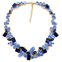 2014 top quality Z full crystal Fashion Necklace choker collar bib crystal statement necklace for women smooth back no more glue