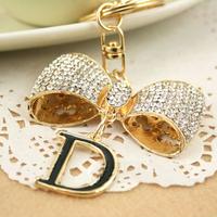 Christmas Gift Full Rhinestone  Bowknot D Keychain Alloy Keyring handBag Charm Real Gold Plated ,Nickel free