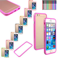 "Silicone & Plastic Bumper Frame Shockproof Case Metal Buttons for iPhone 6 4.7""+ Pen"