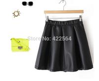 womens plus size fashions Winter European style PU leather elastic waist skirt, skirt leather, mini skirt, women's skirt