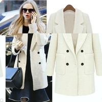 2014 Design New Winter Trench Coat Women Grey Medium Long Oversize Warm Wool Jacket European Fashion Overcoat