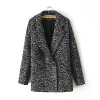 2014 Winter New  women fashion  simple long-sleeved lapel wool coat double pocket explosion