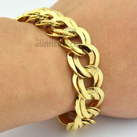 Fashion Jewelry 15mm Women Girl Huge Double Curb Cuban Chain 18K Yellow Gold Filled Bracelet Gold Jewellery Free Shipping GFB110