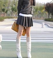 2014 Fashion Women Woolen Skirts Korean Style Elastic High Waist All Match Slim Female Pleated Short Skirts Red Gray