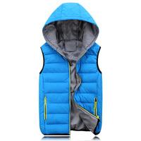 New 2014 Plus Size 3XL Winter Vest Men Casual Hooded Vest Men Cotton-padded Waistcoat Comfortable Couples Sleeveless Jacket