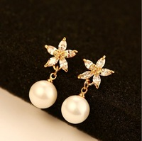 New quality women 18k rose gold plated earring big brand stud earring flower pearl earring women quality jewelry gift