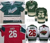 2014 New Wholesale Minnesota Wild #26 Thomas Vanek Jersey Green Red White Embroidered Stitched Logo Hockey Jerseys Free Shipping