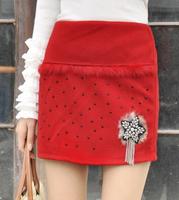2014 Fashion Women Short Skirts Korean Style Elastic Waist Rivet Decoration All Match Solid Color Slim Female Short Skirts