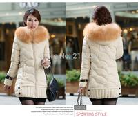 Winter Girls long  Slim women big fur padded collar down jackets ovo Korean female models women fashion thick down coats