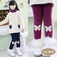 Girl Thicken Fleece legging children's winter snow Super warm Bowknot kids leggings for girls pants high quality Trousers