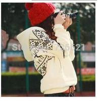 2014 New Arrival Women's Hooded Hoodies Fashion Deer Printed Pullovers Autumn Sweatshirts Long-Sleeve Coat Black White Red
