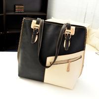 New arrival 2014 women's handbag shoulder bag patchwork bag color bags personalized PU brief bag trend bag