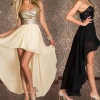 Women Irregular Hemline Dual Layers Sequins Wrinkle Deep-V Shoulderless Dresses