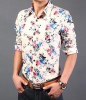 2014 new autumn men fashion shirts high quality plus size 3XL floral print casual shirts men