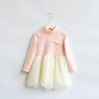 2014 New,girls princess dress,children autumn cotton dress,long sleeve,lace,bow,pink,1-7 yrs,5 pcs/lot,wholesale,1829