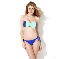 Free Shipping 2014 new hot Women's Fashion Bikinis Sexy Royal Blue Bandeau Top Bikini Swimwear with A Playful Bow at the Center