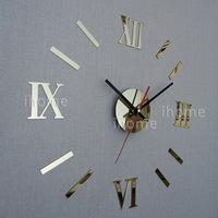 DIY Home Decoration quartz Acrylic mirror wall clock, Roman numerals design & Fashion Art Home Decor stickers wall Watch