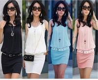 2014 Summer Women's Mini Dresses Crew Neck Chiffon Sleeveless Tunic Sun Dress Work Wear Career Business Casual Dress