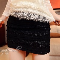 2014 Fashion Women Short Skirts All Match Tight Hip Slim Waist Lace Patchwork Vogue Elastic Female Mini Skirts Black