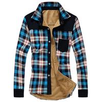 2014 new winter velvet shirts men fashion shirts with fleece plaid shirts high quality plus size 3XL casual shirts men