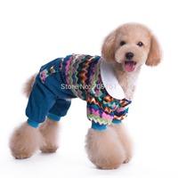European Good Warm Small Pet Dog Clothes Apparel Blue Outcoat Jumpsuit Pants