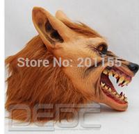 Halloween brown Creepy Adult wolf head latex Rubber Mask Costume Prop Novelty nu
