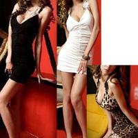 Girl Women Deep-V Floral HollowBack Embroider Clubwear Tank Tops One-Piece Dress