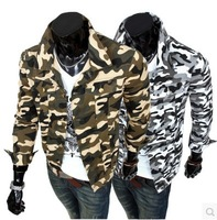 2014 men's clothing outdoor camouflage jacket patchwork casual outerwear