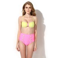 Free Shipping 2014 new hot  Women's Fashion  Bikinis Swimwear with Bandeau Top and High-waist Bottom Bikini