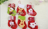 12pcs 15.5cm*8.5cm New Year Decorations Candy Bag Stocking Christmas Decoration Gifts Santa Claus Socks Christmas Tree Ornaments