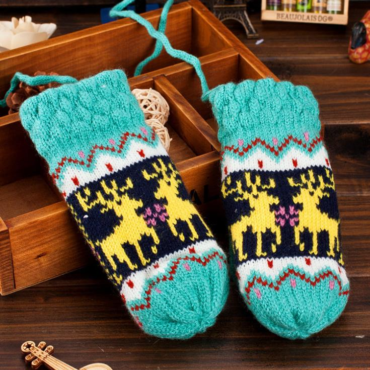 2014 Hot Sale Free Shipping children Deer Design thick winter gloves mittens for children/Ski glove necessary As Christmas Gifts(China (Mainland))